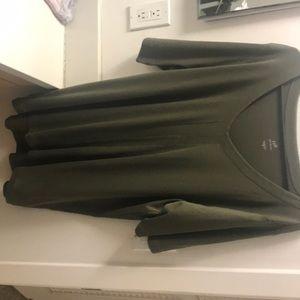 J. Jill V-Neck Olive Green Pima Cotton Tunic XL